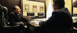 ENDURING LEGACY: Some may not agree with Zaki's (left) changes to the judiciary, but others opine that he has revolutionised the Malaysian legal system. He is seen here speaking to 'The Malay Mail' executive editor Terence Fernandez in a recent interview in Putrajaya — Pic: Samsul Said
